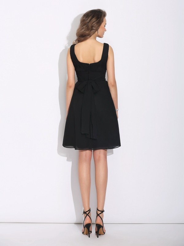 Nice A-Line Scoop Sleeveless Short Chiffon Dress