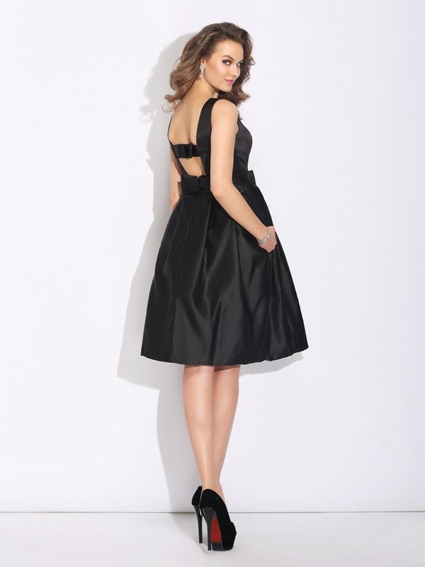 Nice A-Line Bateau Sleeveless Short Satin Dress