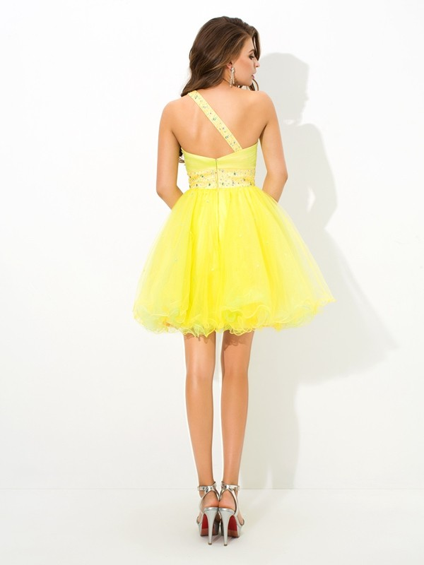 Amazing A-Line One-Shoulder Sleeveless Short Net Cocktail Dress