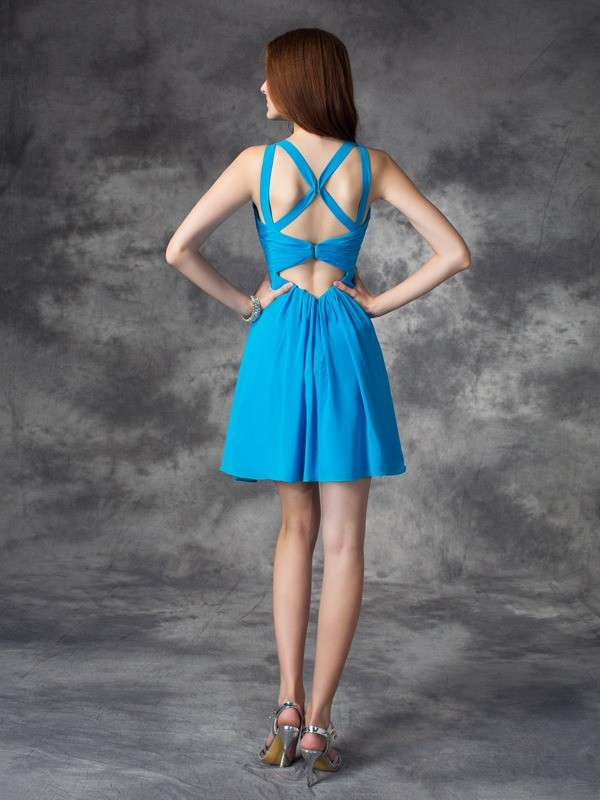 Amazing A-Line V-neck Sleeveless Short Silk like Satin Dress
