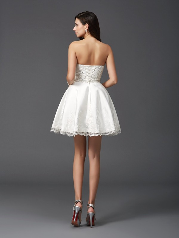 Amazing A-Line Sweetheart Sleeveless Short Satin Dress