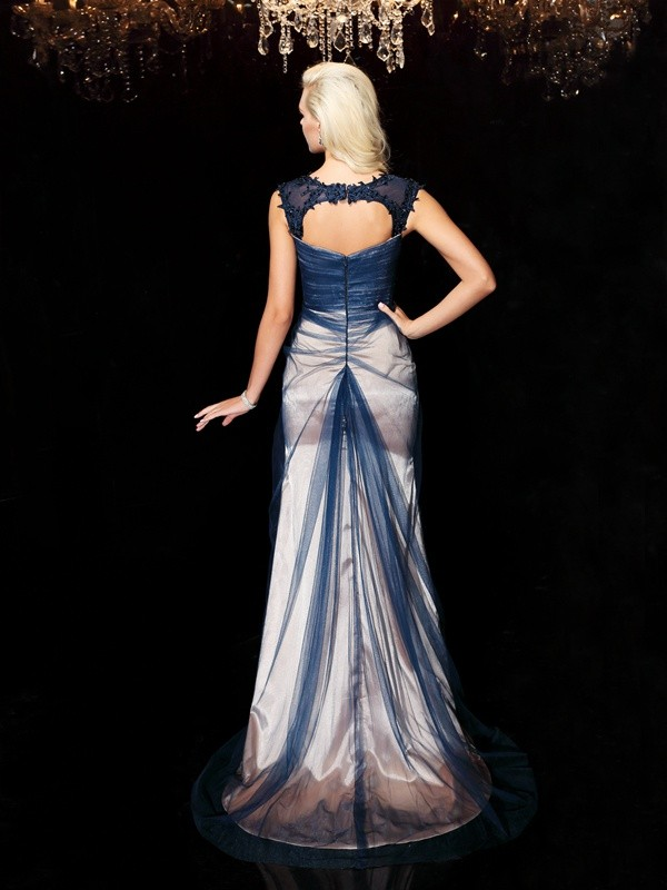 Amazing Sheath Straps Sleeveless Long Elastic Woven Satin Dress