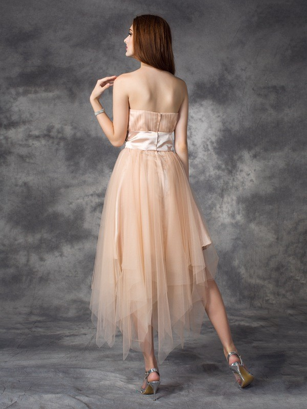 Glamorous A-Line Strapless Sleeveless Long Elastic Woven Satin Dress