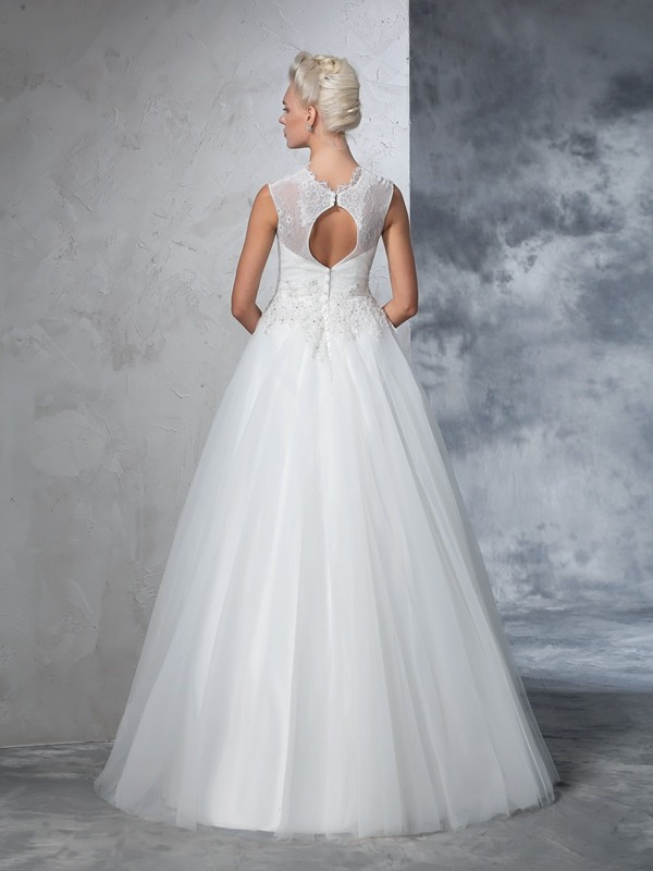 Glamorous Ball Gown High Neck Sleeveless Long Net Wedding Dress
