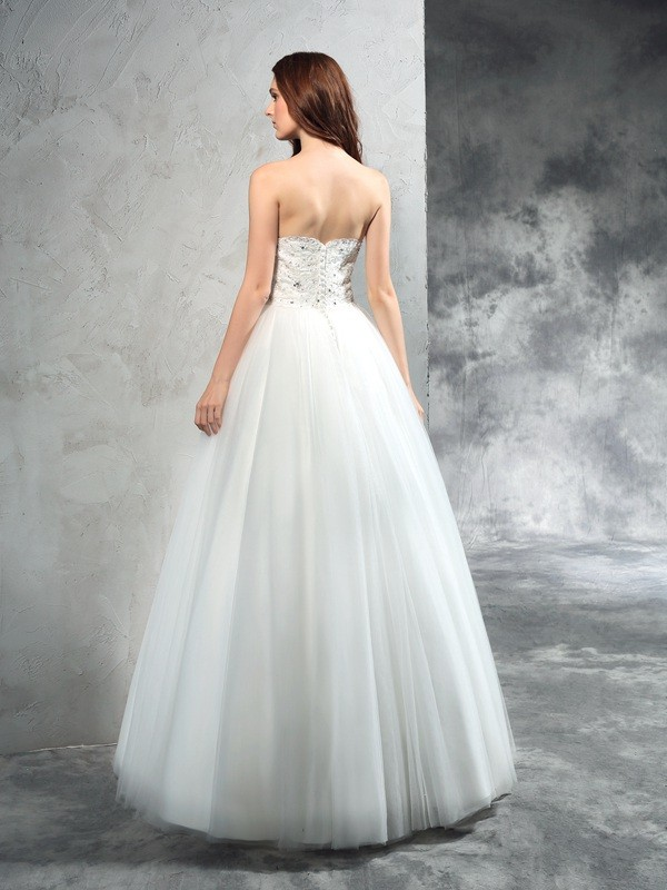 Glamorous A-Line Sweetheart Sleeveless Long Net Wedding Dress