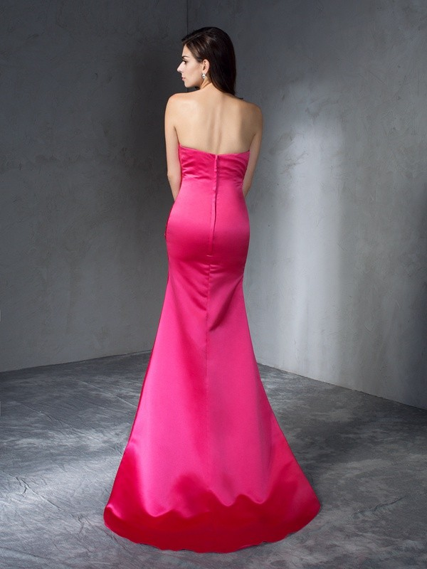 Glamorous Mermaid Sweetheart Sleeveless Long Satin Dress