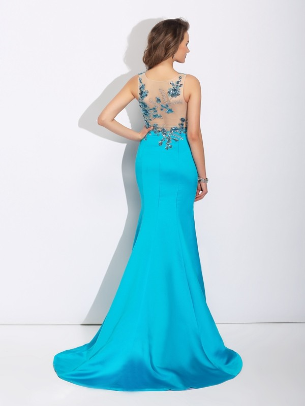 Glamorous Mermaid Scoop Sleeveless Long Satin Dress