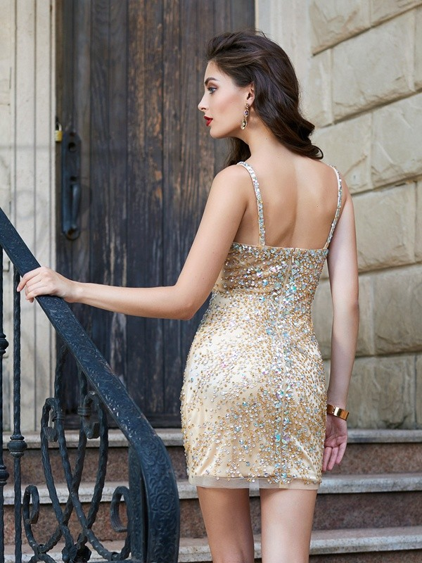 Beautiful Sheath Sleeveless Spaghetti Straps Net Sequin Short/Mini Dress