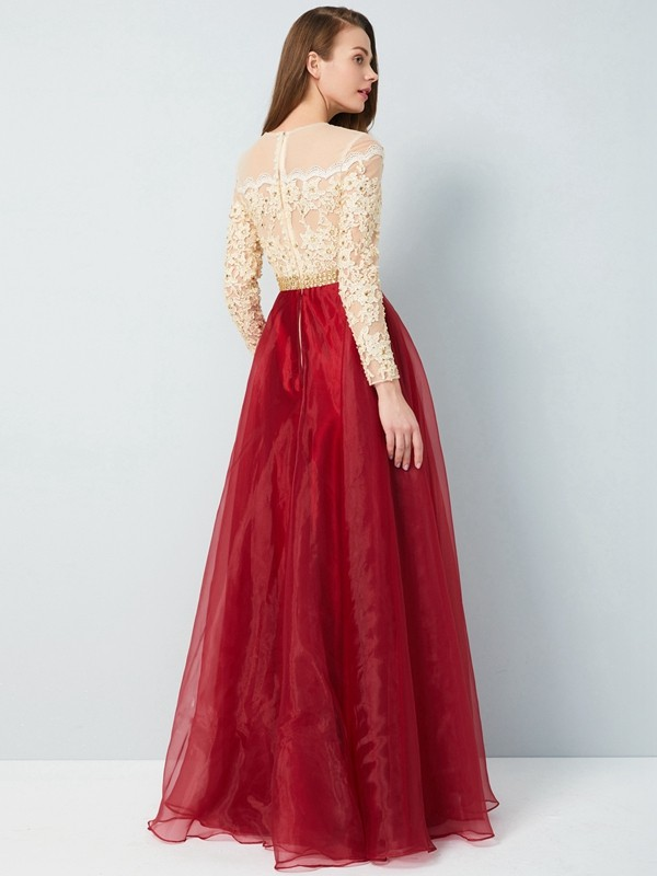 Affordable A-Line Sheer Neck Floor-Length Long Sleeves Organza Dress