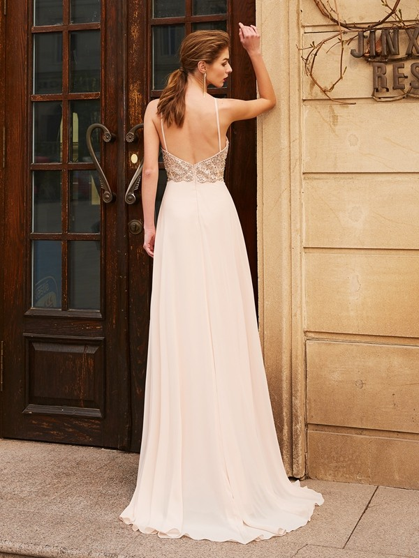 Discount A-Line Spaghetti Straps Sleeveless Sweep/Brush Train Chiffon Dress