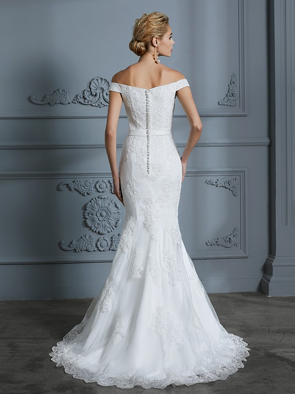 Unique Mermaid Off-the-Shoulder Sleeveless Lace Sweep/Brush Train Tulle Wedding Dress