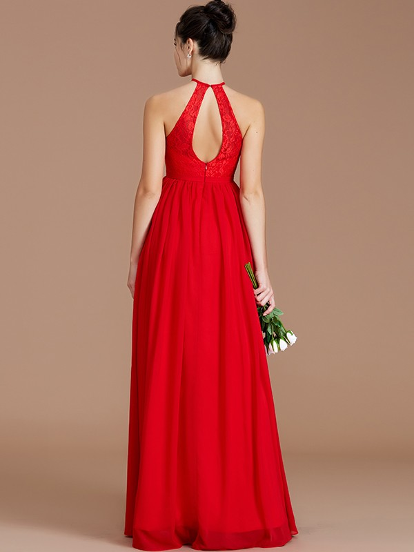 Fancy A-Line Halter Sleeveless Lace Floor-Length Chiffon Bridesmaid Dress