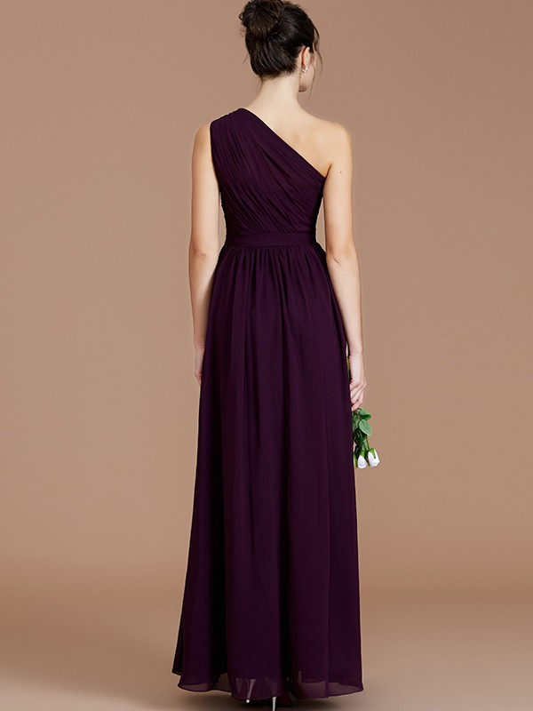 Fancy A-Line One-Shoulder Sleeveless Floor-Length Chiffon Bridesmaid Dress