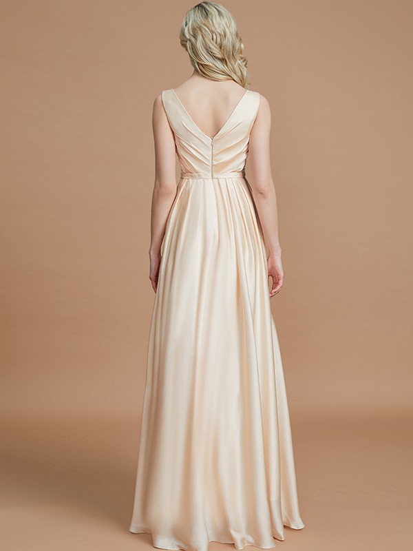 Gorgeous A-Line V-neck Sleeveless Floor-Length Satin Chiffon Bridesmaid Dress