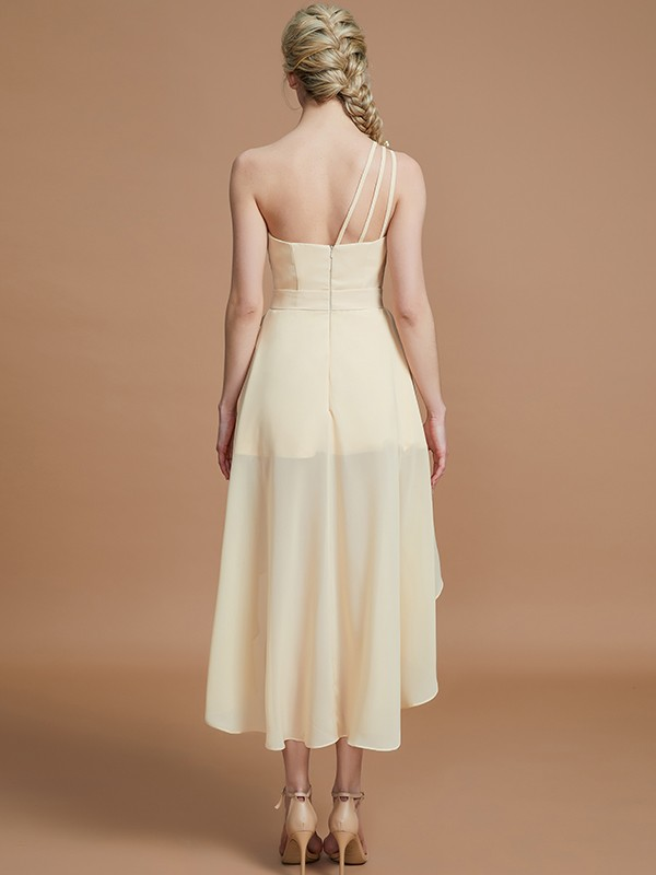 Gorgeous A-Line One-Shoulder Sleeveless Asymmetrical Chiffon Bridesmaid Dress