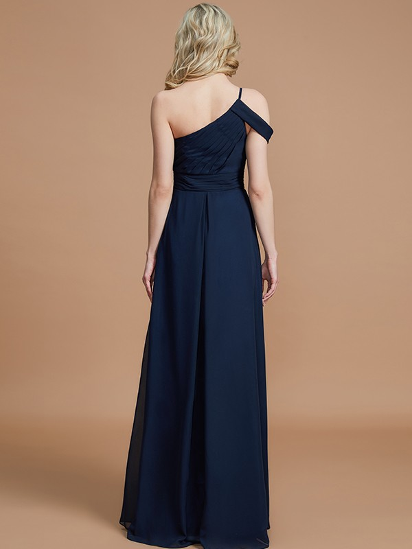 Gorgeous A-Line One-Shoulder Floor-Length Chiffon Sleeveless Bridesmaid Dress