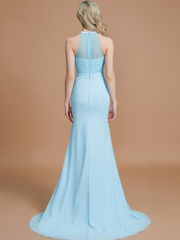 Gorgeous Mermaid Sleeveless Scoop Sweep/Brush Train Chiffon Bridesmaid Dress