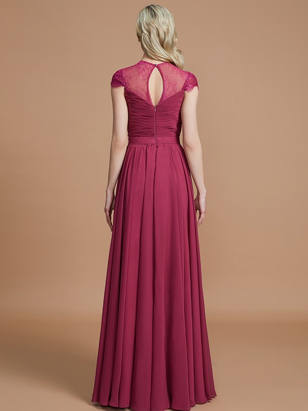 Gorgeous A-Line Scoop Short Sleeves Chiffon Floor-Length Bridesmaid Dress