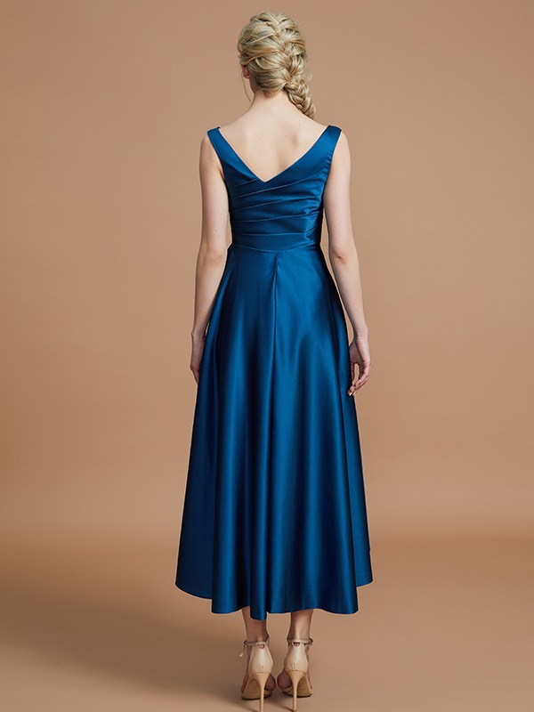 Gorgeous A-Line V-neck Satin Asymmetrical Sleeveless Bridesmaid Dress