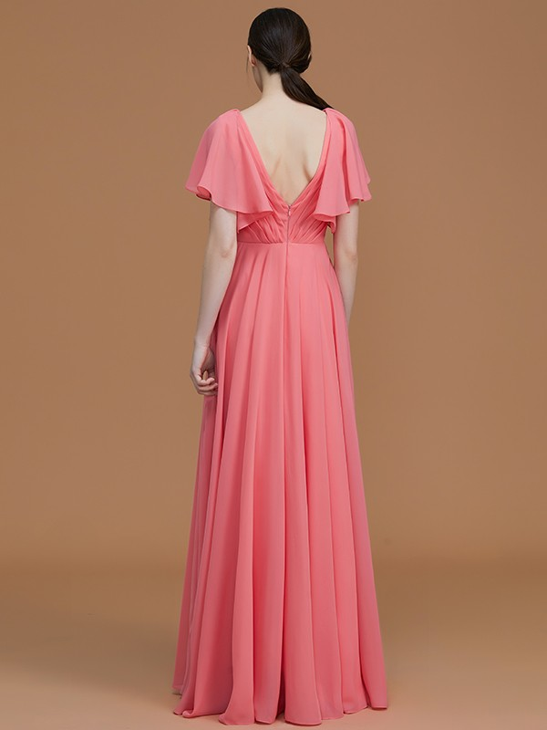 Affordable A-Line V-neck Short Sleeves Floor-Length Chiffon Bridesmaid Dress