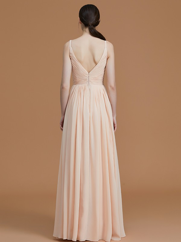 Stylish A-Line V-neck Sleeveless Floor-Length Chiffon Bridesmaid Dress