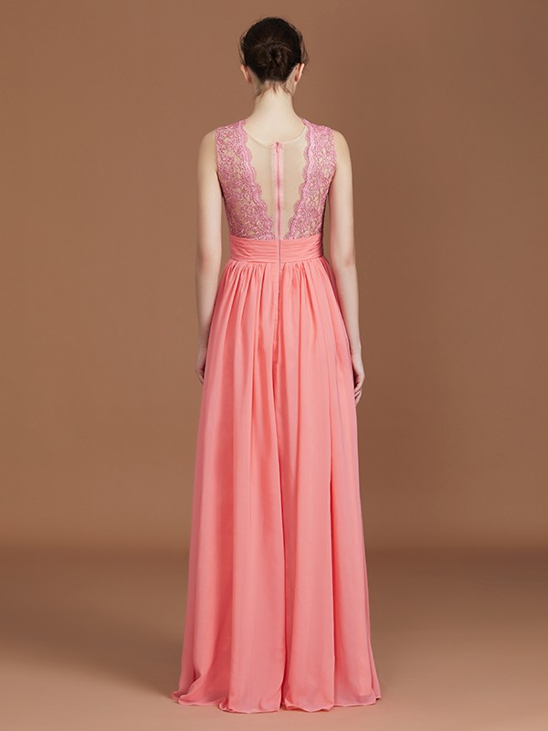 Elegant A-Line Jewel Sleeveless Lace Floor-Length Chiffon Bridesmaid Dress