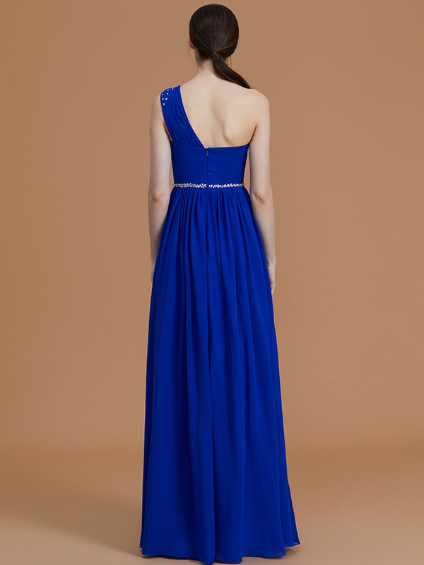 Unique A-Line One-Shoulder Sleeveless Floor-Length Chiffon Bridesmaid Dress