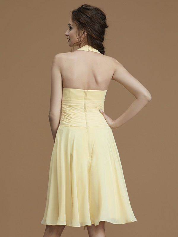 Beautiful A-Line Halter Sleeveless Short/Mini Chiffon Bridesmaid Dress