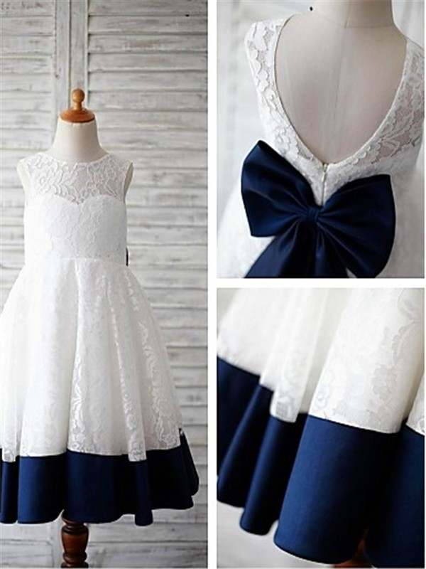 Elegant A-line Scoop Sleeveless Tea-length  Lace Flower Girl Dress