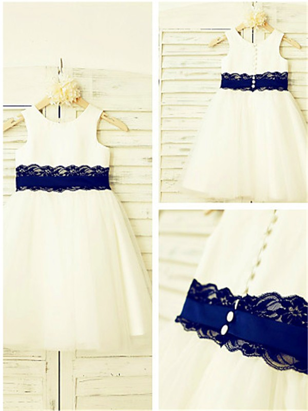 Glamorous A-line Scoop Sleeveless Lace Tea-Length Tulle Flower Girl Dress