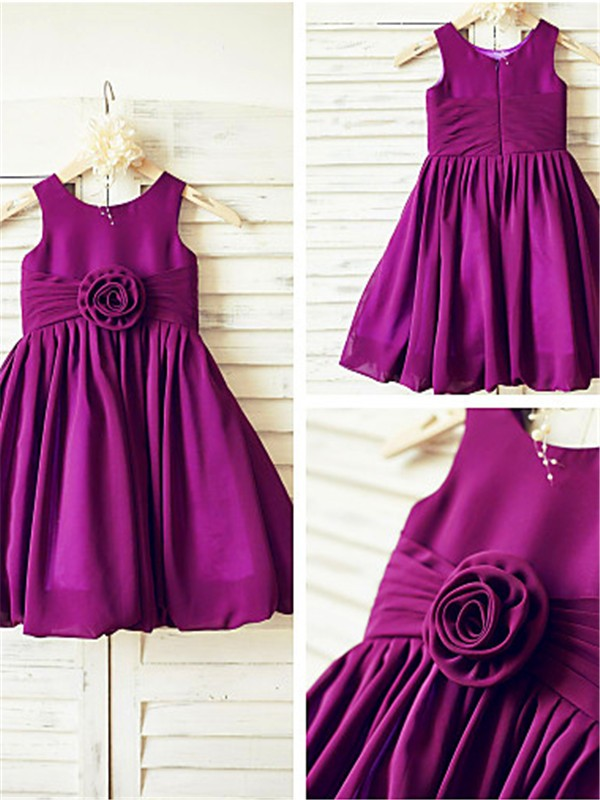 Perfect A-line Straps Sleeveless Tea-length Chiffon Flower Girl Dress
