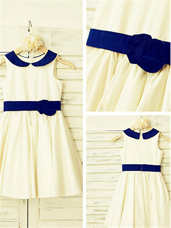 Affordable A-line Scoop Sleeveless Tea-Length Satin Flower Girl Dress