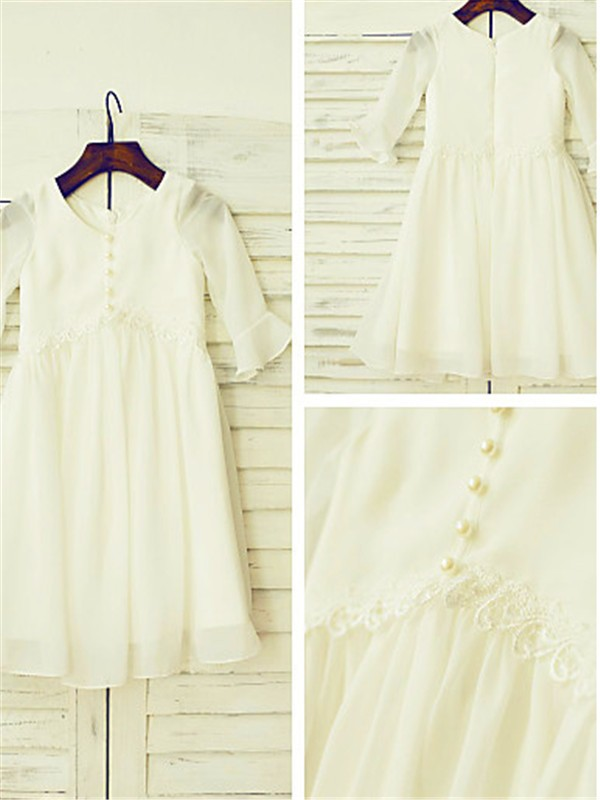 Beautiful A-line Scoop Long Sleeves Tea-length Chiffon Flower Girl Dress