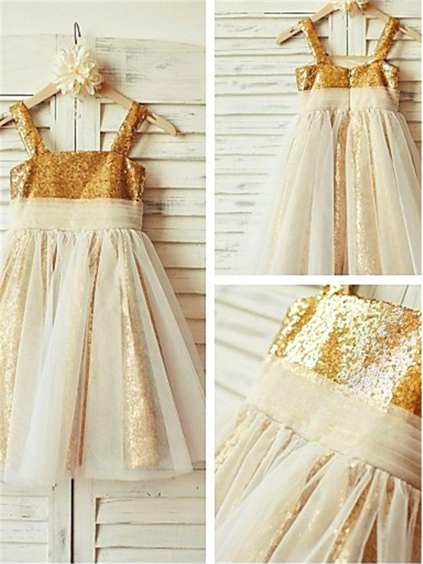 Discount A-line Spaghetti Straps Sleeveless Tea-length Sequins Flower Girl Dress
