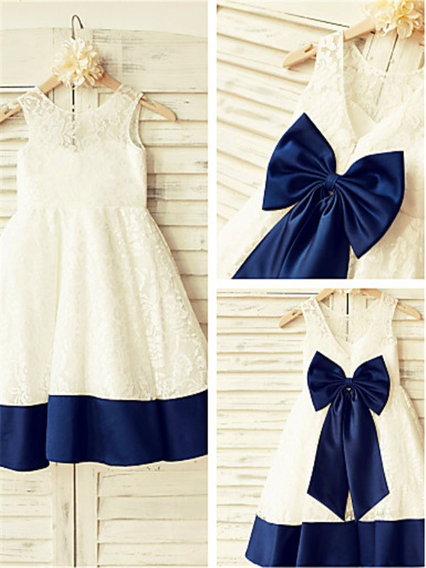 Stunning A-line Sleeveless Scoop Tea-length Lace Flower Girl Dress