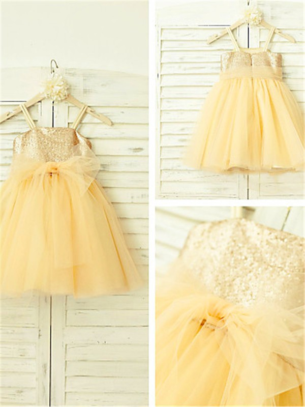 Glamorous A-line Spaghetti Straps Sleeveless Tea-Length Tulle Flower Girl Dress