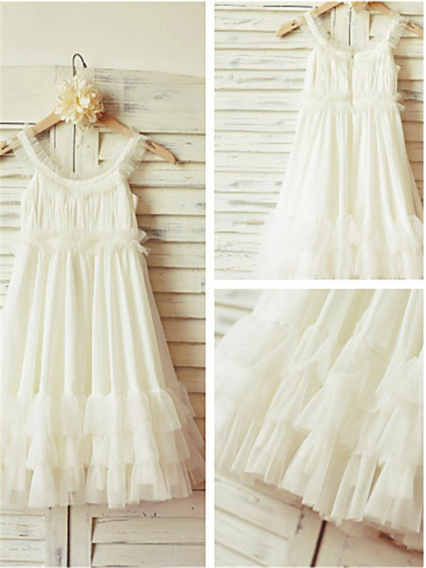 Discount Straps Sleeveless Tea-length Chiffon Flower Girl Dress