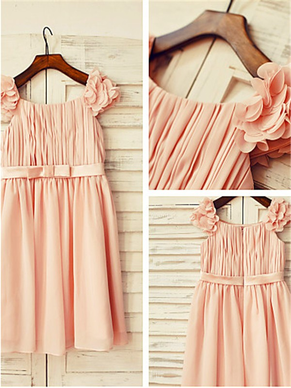 Chic A-line Straps Sleeveless Layers Tea-length Chiffon Flower Girl Dress