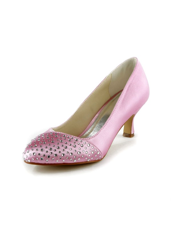 Fashion Women Satin Stiletto Heel Closed Toe Pink Wedding Shoes