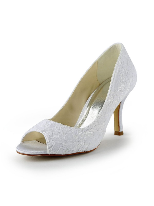 Exquisite Women Lace Satin Stiletto Heel Peep Toe Sandals White Wedding Shoes