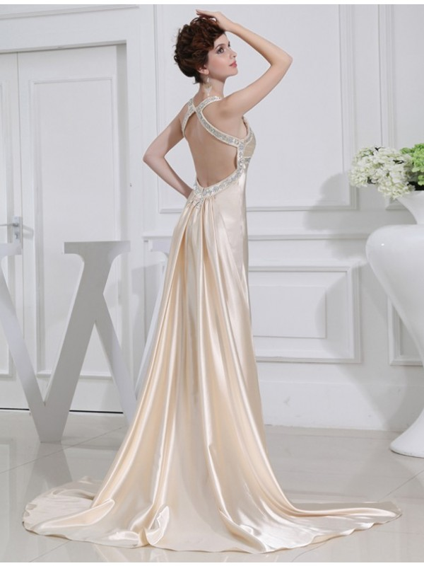 Hot Sale A-Line Sleeveless Elastic Woven Satin Dress