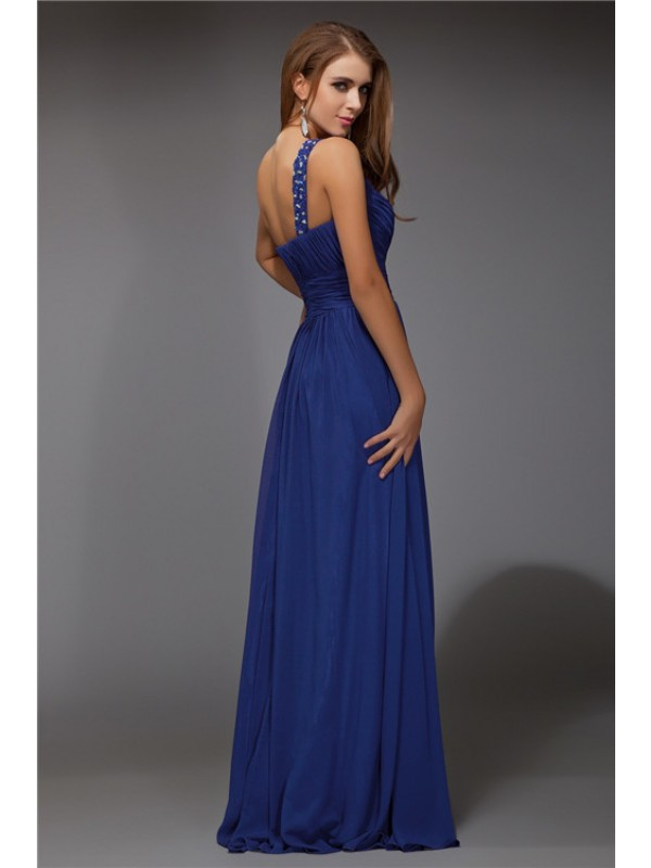 Modest Fantastic Sheath One-Shoulder Sleeveless Long Chiffon Dress
