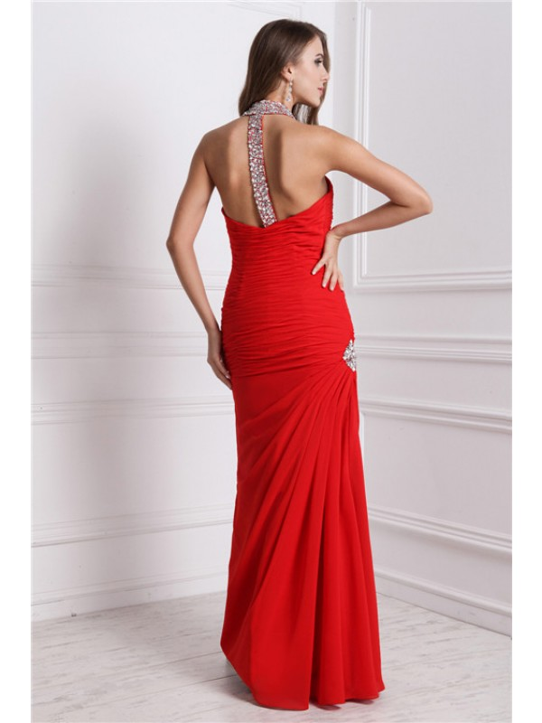 Hot Sale Sheath Halter Sleeveless Long Chiffon Dress