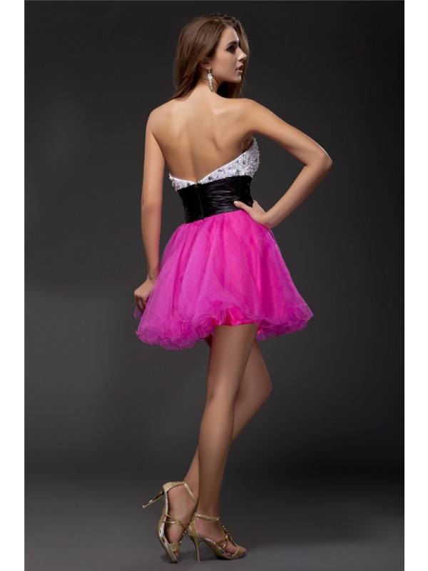 Gorgeous A-Line Sweetheart Sash Sleeveless Short Organza Elastic Woven Satin Cocktail Dress