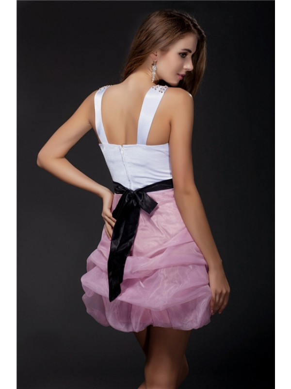 Gorgeous Ball Gown V-neck Sleeveless Short Sash Organza Elastic Woven Satin Cocktail Dress