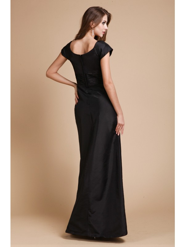 Hot Sale Sheath V-neck Short Sleeves Long Taffeta Dress