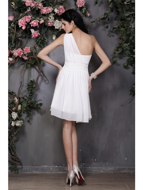 Gorgeous A-Line One-Shoulder Sleeveless Short Chiffon Bridesmaid Dress