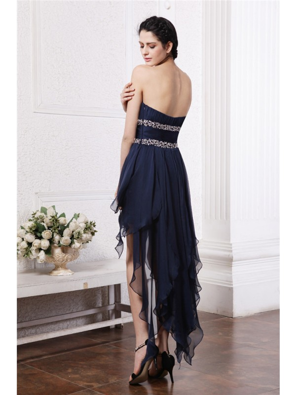 Gorgeous Sheath Strapless Sleeveless High Low Chiffon Cocktail Dress