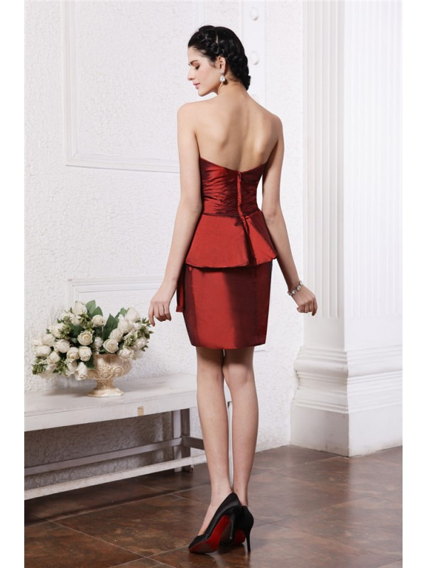 Hot Sale Sheath Strapless Sleeveless Short Taffeta Cocktail Dress