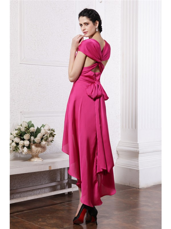 Gorgeous Sheath High Low Chiffon Straps Damask Cocktail Dress